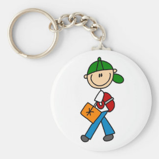Boy With Backpack Basic Round Button Keychain