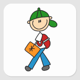 Boy With Backpack Square Sticker