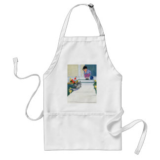 Boy with Ball Waits While His Dog Eats Adult Apron