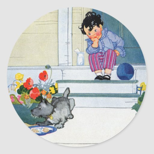 Boy with Ball Waits While His Dog Eats Classic Round Sticker