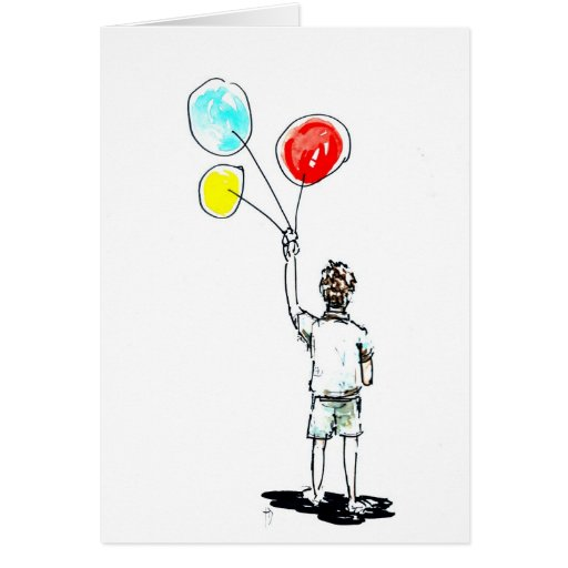 Boy with Balloons Card