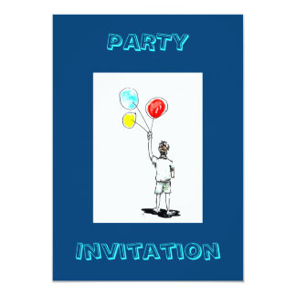 Boy with Balloons Party Invitation