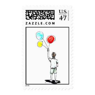 Boy with Balloons Postage
