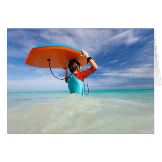 Boy with boogie board greeting card