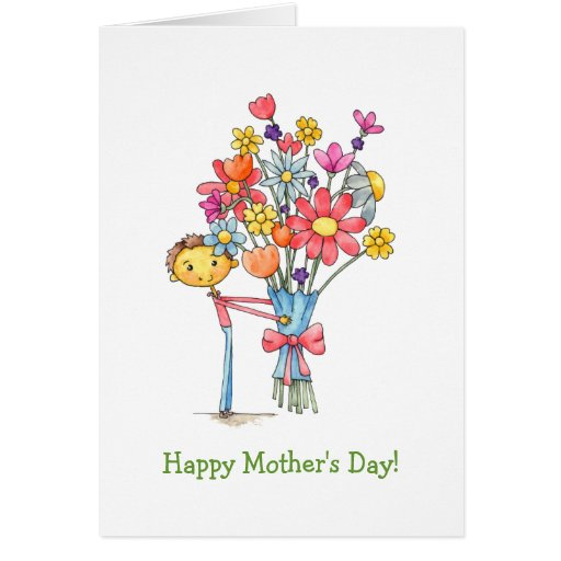 Boy With Bouquet Happy Mother S Day Template Greeting Card