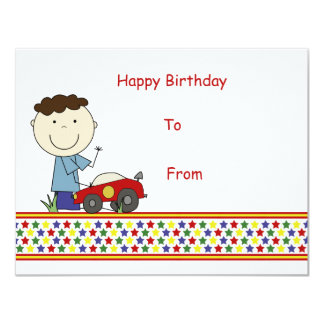 Boy with car - Children's Gift Card Personalized Invites
