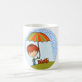 boy with cat in the rain classic white coffee mug