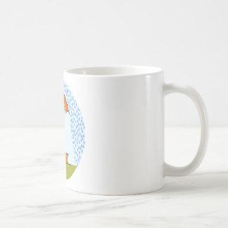 boy with cat in the rain classic white coffee mug