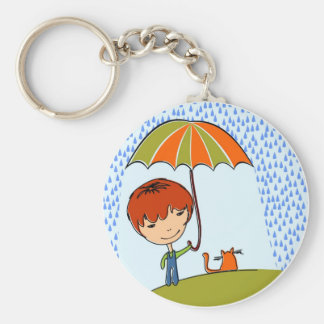 boy with cat in the rain key chains