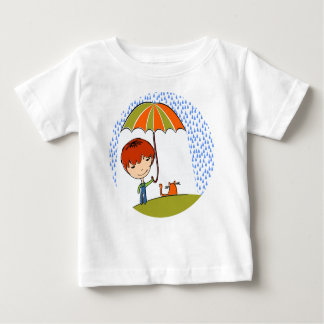 boy with cat in the rain shirt