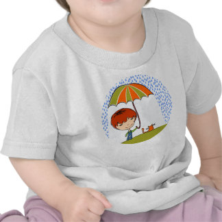 boy with cat in the rain tee shirt