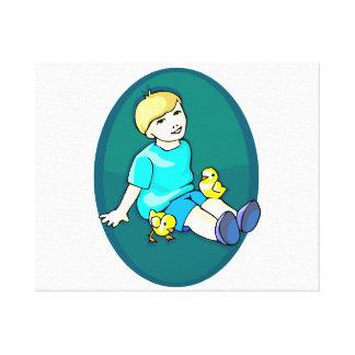 Boy with chicks aqua oval design.png canvas print