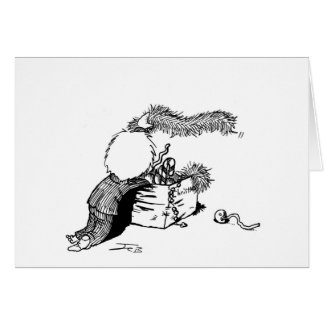 Boy with Christmas Tree Trimmings Card