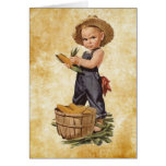 boy with corn vintage greeting card