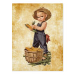 boy with corn vintage post cards