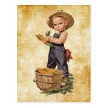 boy with corn vintage postcard