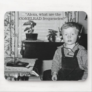 Boy With Crystal Radio Set Humor Mouse Pad