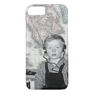 Boy With Crystal Radio Set Map iPhone 8/7 Case