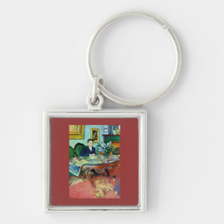 Boy with Dog Under Table Keychains