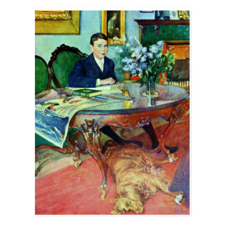 Boy with Dog Under Table Post Cards