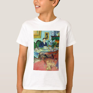 Boy with Dog Under Table T-Shirt