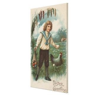 Boy with Easter Egg Basket Holding Egg Canvas Print
