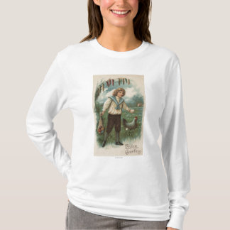 Boy with Easter Egg Basket Holding Egg T-Shirt