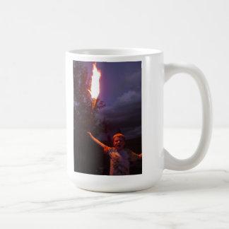 Boy with fire coffee mug