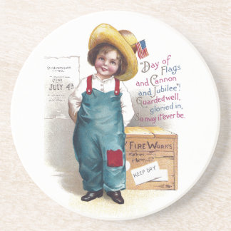 Boy With Fireworks for the Fourth Beverage Coaster