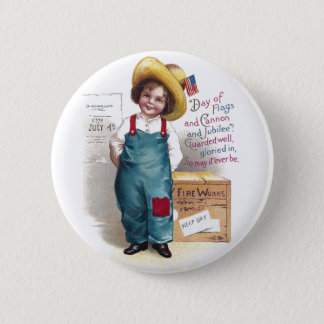 Boy With Fireworks for the Fourth Pinback Button