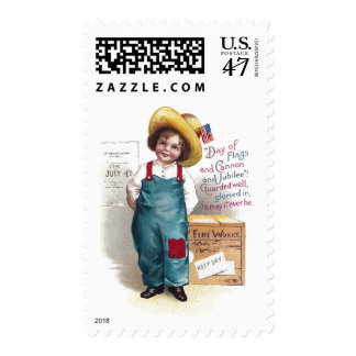Boy With Fireworks for the Fourth Postage