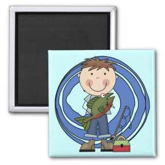 Boy With Fish Tshirts and Gifts 2 Inch Square Magnet