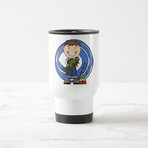 Boy With Fish Tshirts and Gifts 15 Oz Stainless Steel Travel Mug