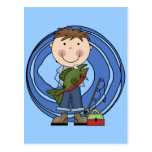 Boy With Fish Tshirts and Gifts Postcard