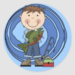 Boy With Fish Tshirts and Gifts Classic Round Sticker