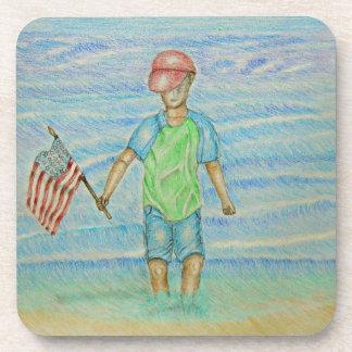 boy with flag coaster