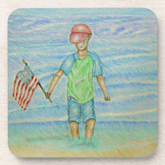 boy with flag drink coaster