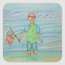 boy with flag square sticker