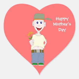 Boy With Flowers Heart Sticker Template