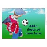 Boy With Football Greeting Card