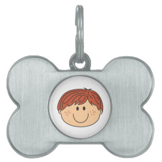 Boy With Freckles Pet Name Tag