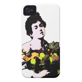 Boy with Fruit Basket Add Background Color iPhone 4 Case-Mate Case