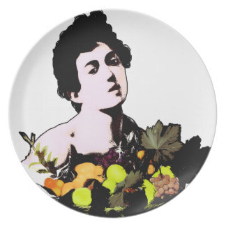 Boy with Fruit Basket  (Add Background Color) Dinner Plate