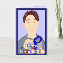 Boy with Gift Happy Hanukkah Card