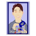 Boy with Gift Happy Hanukkah Card