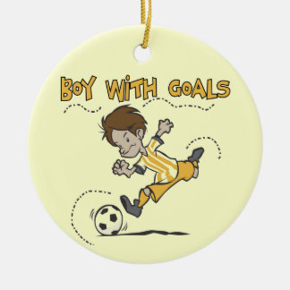 Boy With Goals T-shirts and Gifts Double-Sided Ceramic Round Christmas Ornament