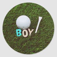 Boy with golf ball and tee on grass Sticker