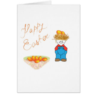 Boy with hair like straw sells Easter eggs Card