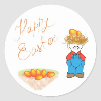 Boy with hair like straw sells Easter eggs Classic Round Sticker