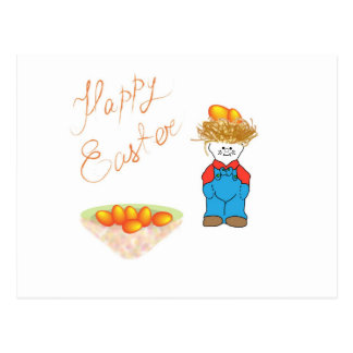Boy with hair like straw sells Easter eggs Postcard